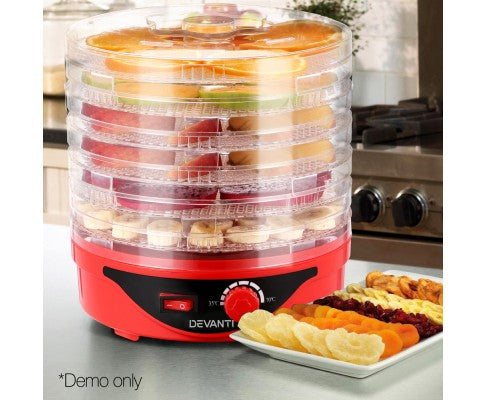 7 Trays Food Dehydrator Preserver Fruit Meats Jerky Dryer Round Red