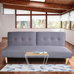 Grace Collection 3 Seater Modular Linen Fabric Sofa Bed Couch Lounge Futon - Grey