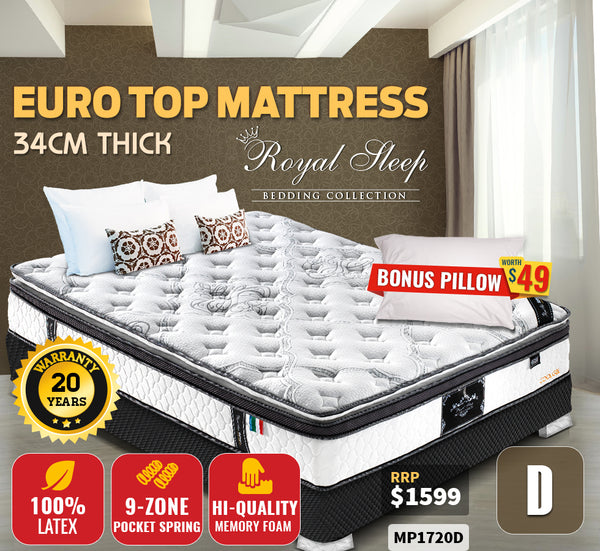 King Mattress Bed Euro Top 9 Zone Pocket Spring Latex Memory Free Shipping