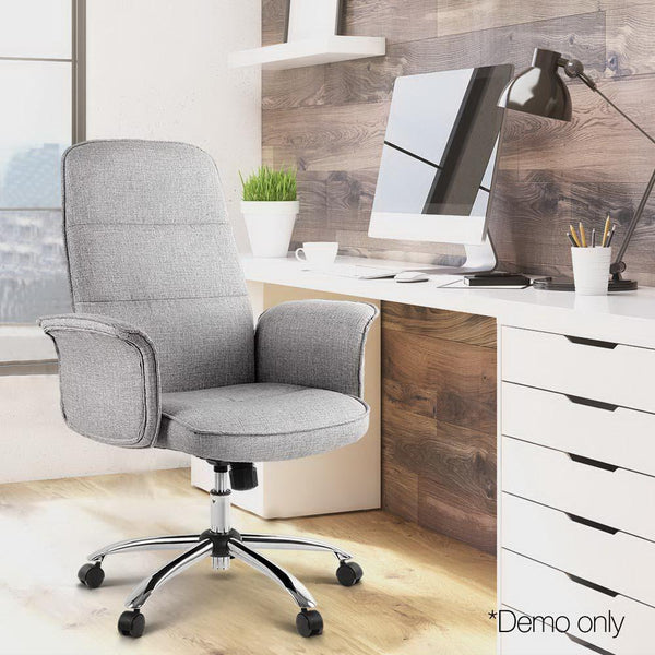 Fabric Office Chair Trumph Style For Computer Student Work Boardroom With Armrest Padded Seat Grey