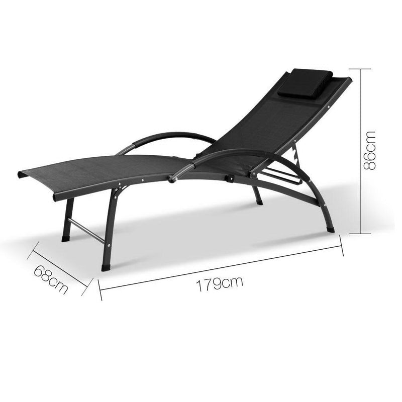 Portable Outdoor Lounge Chair Reclining Chaise Bed Steel Black