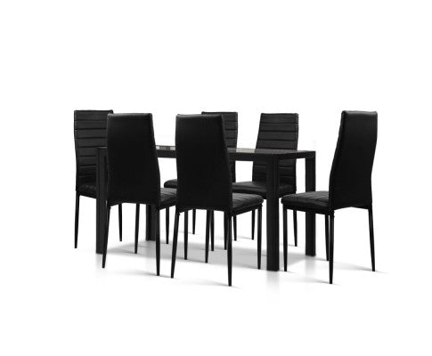 7-Piece Set Tempered Glass Dining Set Table and 6 Chairs Black