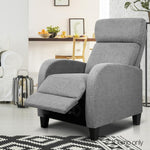 Recliner Chair Luxury Padded Reclining Lounge Armchair Fabric Grey