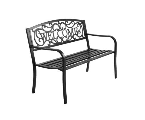 Cast Iron Welcome Garden Bench Black