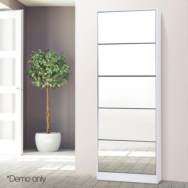 Mirrored Shoe Cabinet Rack 25 Pair Storage Organizer WIth 5 Drawers White