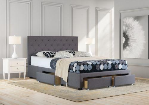 Queen Size Fabric Bed Frame With Drawers Grey