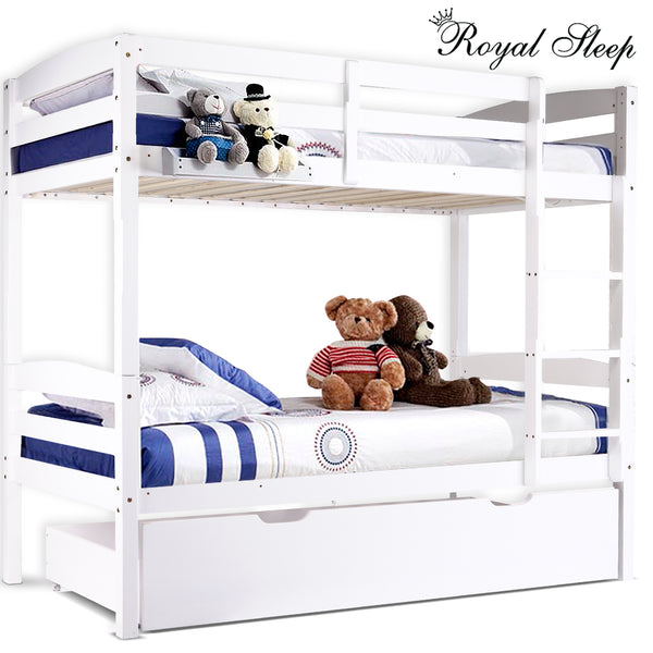Italian Design Twin-Over Bunk Bed with Trundle Storage Box