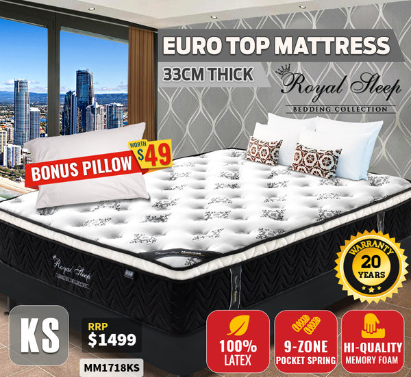 King Single Bed Euro Top Mattress 33cm 9-zone Euro Top Foam