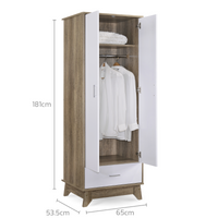 2 Door Wardrobe w/ Drawer Oak