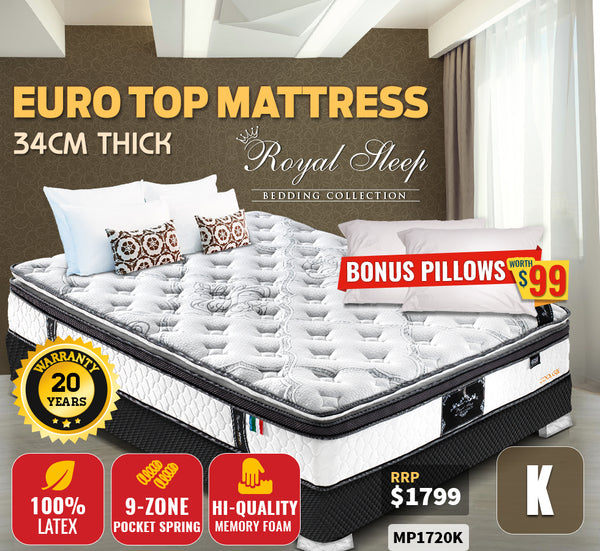King Size Latex Memory Foam Mattress 34cm Thick Medium Firm