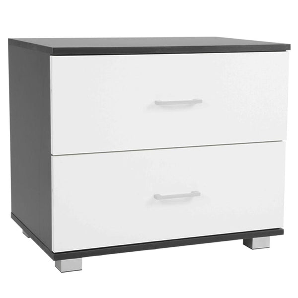 Bedside Table with Drawers MDF - Black White