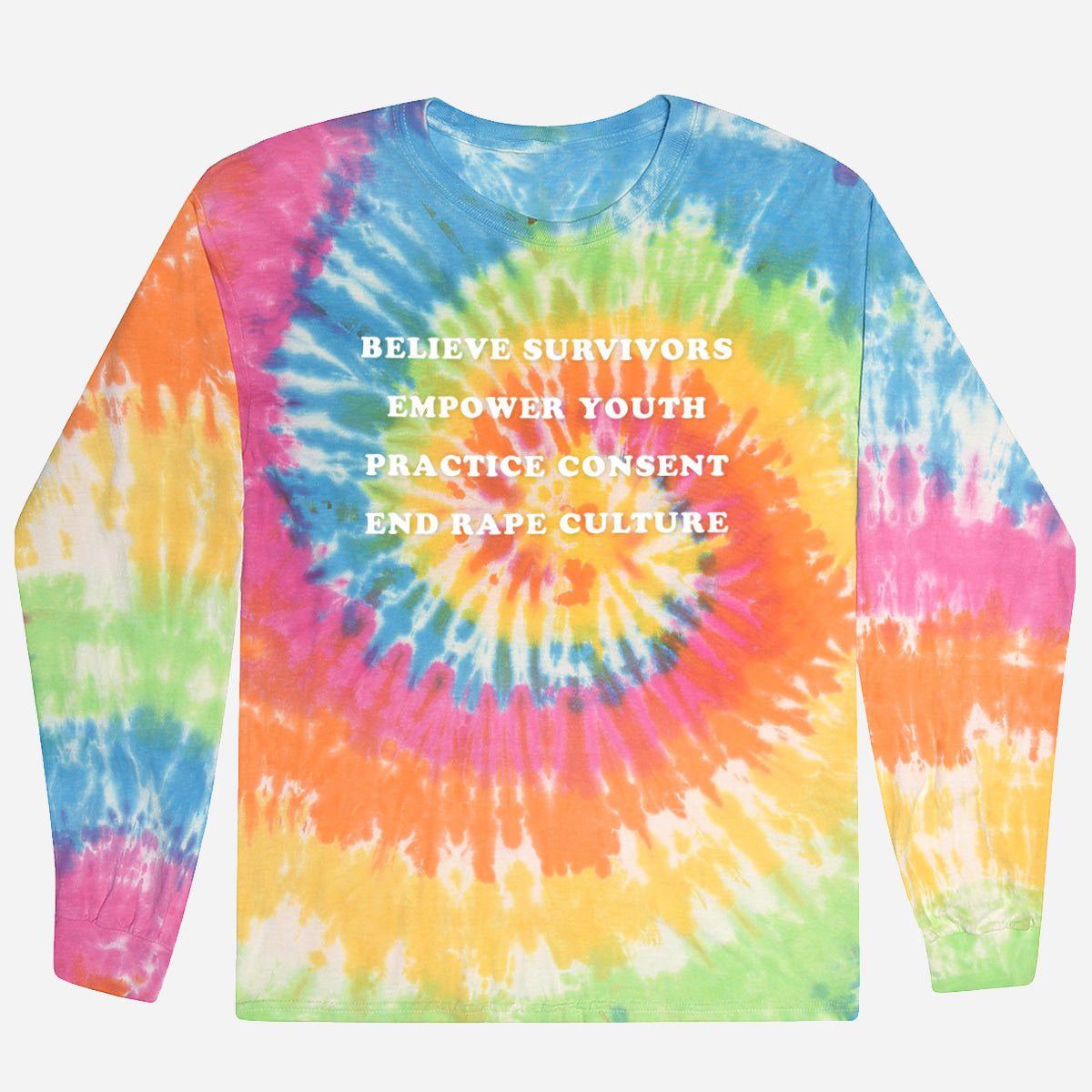 Adult long-sleeve t-shirt: Tie Dye, 4 messages