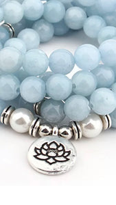 Sky Blue Chalcedony Crystal Necklace or Mala bracelet