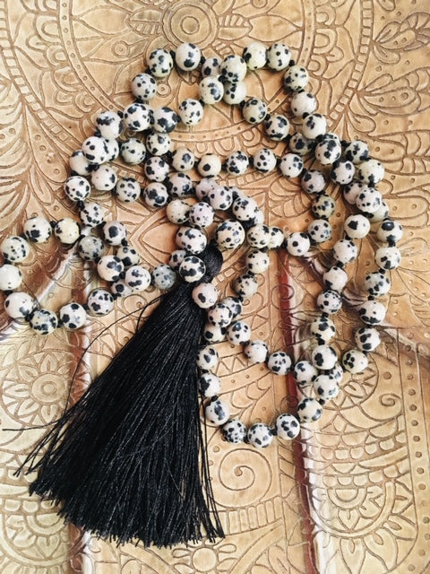 Joyful Dalmatian Stone Mala - Tassel Necklace
