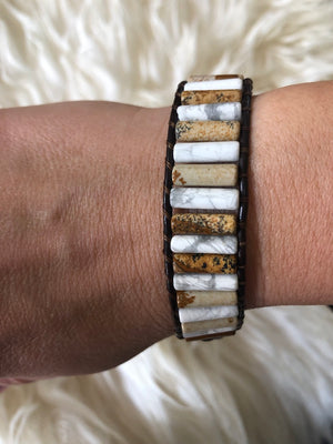 Courage Mixed stone positivity Bracelet  - Leather Wrap