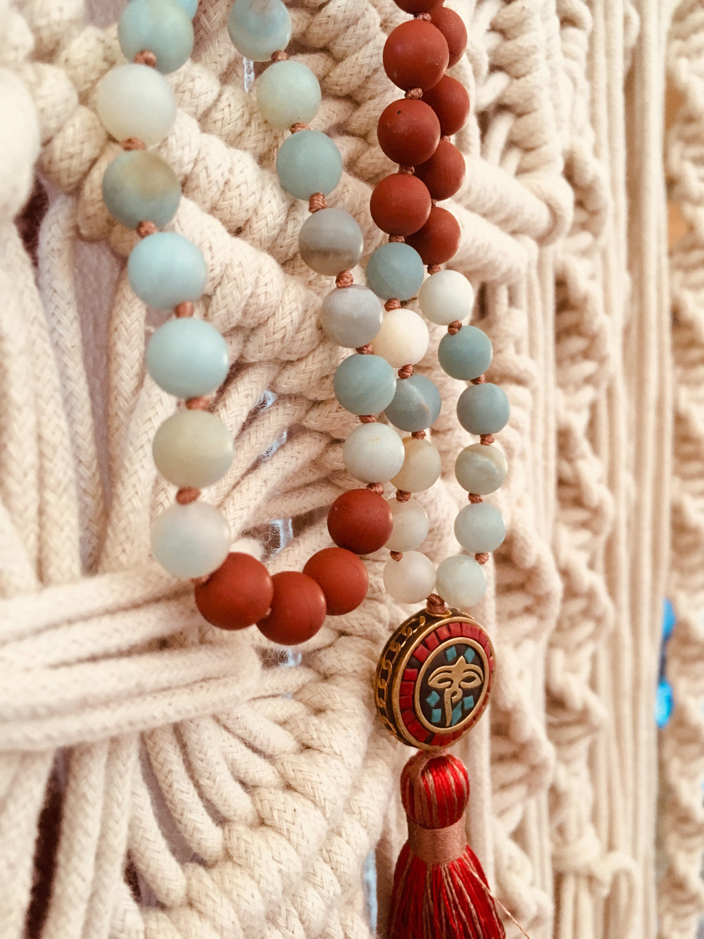 Matte Red Agate & Amazonite Stone with Nepal charm - Knotted Mala
