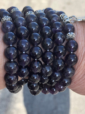 Magic Purple Stone Mala Bead Bracelet Necklace