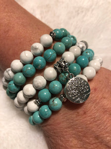 Tree of life - Howlite and Turquoise Bracelet/Necklace
