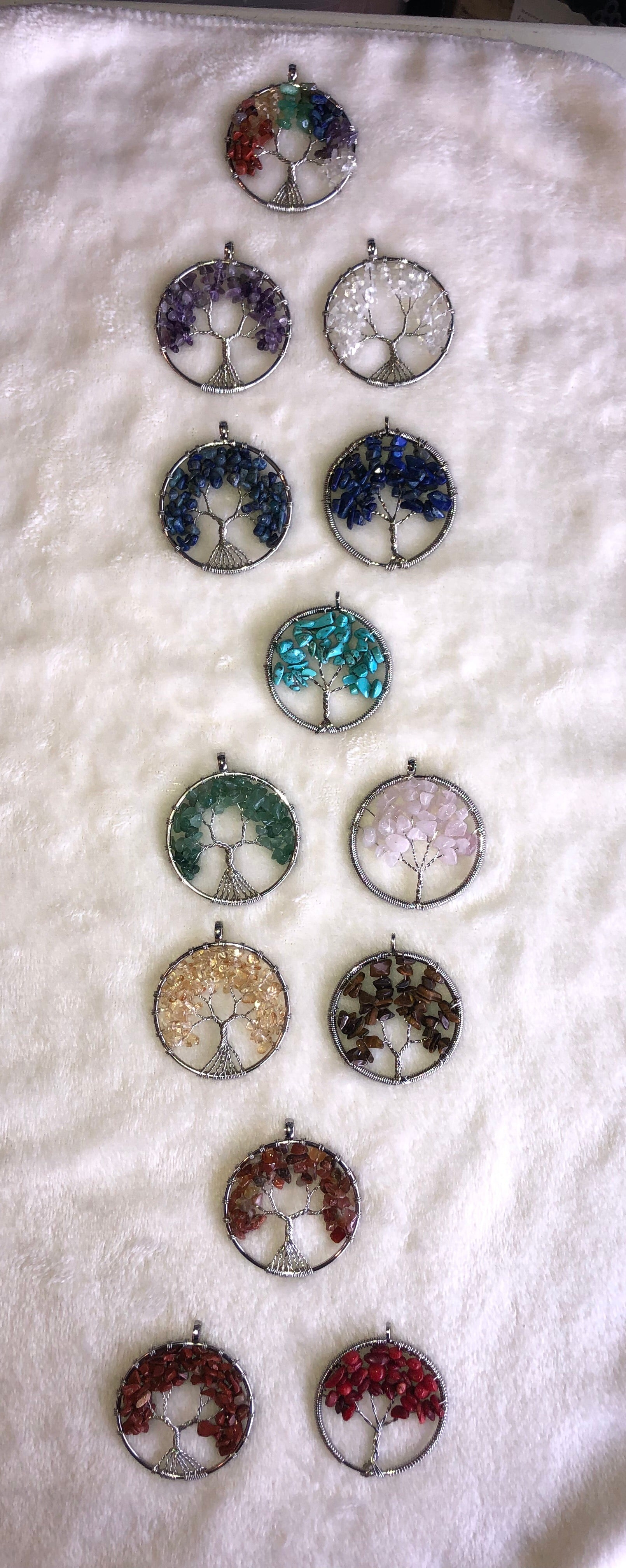 Chakra colored Silver Tree of Life - Handmade - Pendants