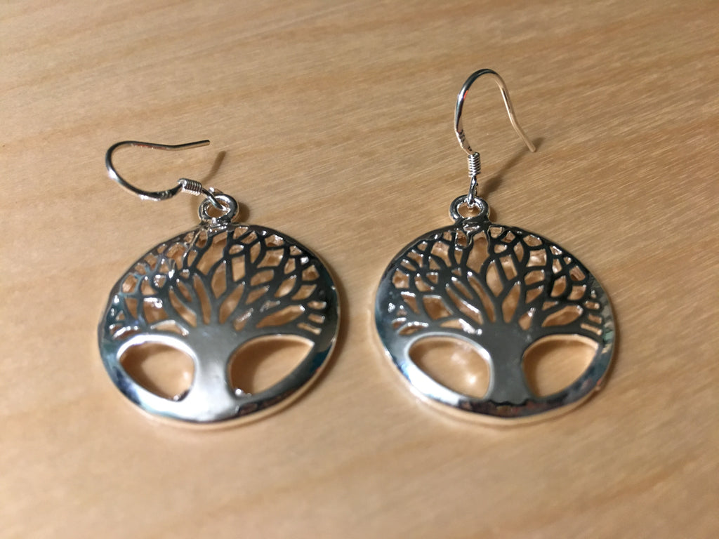 Tree of Life Earrings Natural - 925 Silver