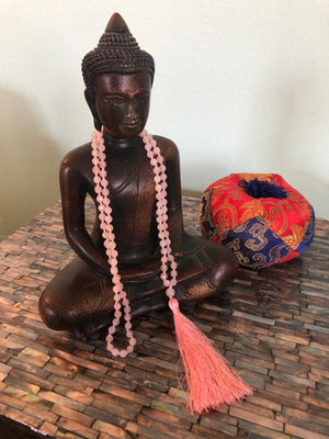 Unconditional Rose Quartz - Mala with Tassel- Individually hand knotted