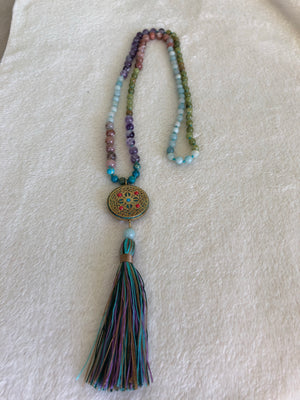 Prayer Necklace with Nepal Amulet and Tassel
