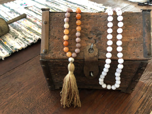 Agate Stone Necklace with Cotton Tassel