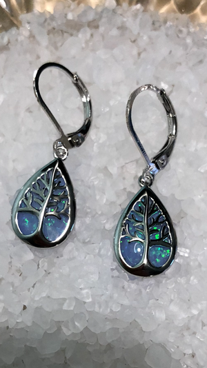"Fire Opal ""Tree of Life""  Earrings"