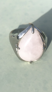 Silver Plated Natural Rose Pink Quartz Water Drop Shape Adjustable