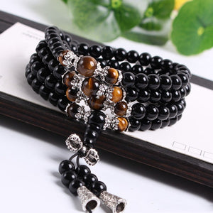 Good Fortune Onyx & Tiger Eye Tibetan Necklace or Bracelet Mala - 6mm
