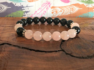 Love Energy Protection Bracelet - Rose Quartz and Black Tourmaline