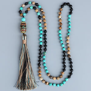 Powerful Onyx - Nepal Pendant Mantra/Yoga Necklace