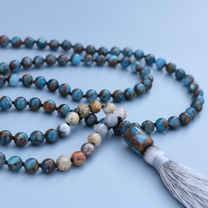 Mosaic Quartz & Agate Knotted Necklace