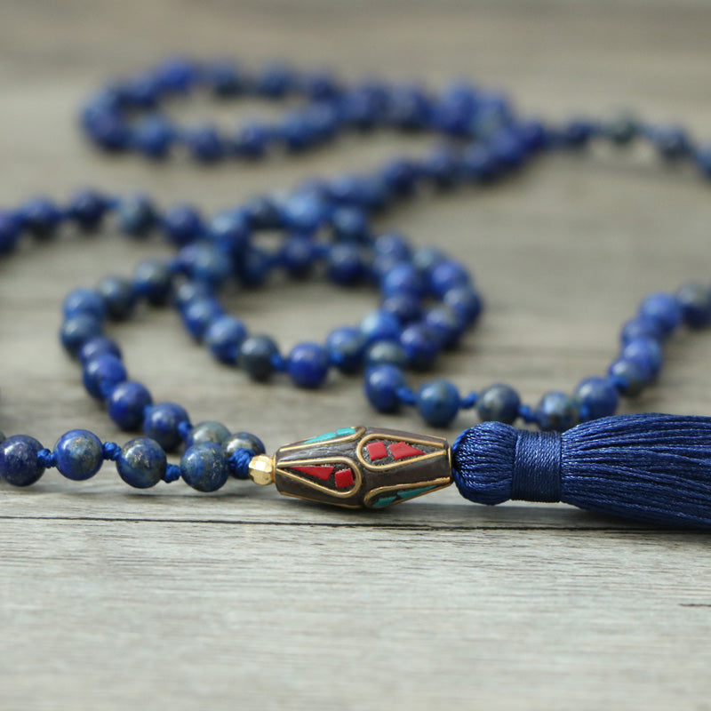 Inner peace and clears the mind of negative thoughts - Mala 108 - Lapis Lazuli