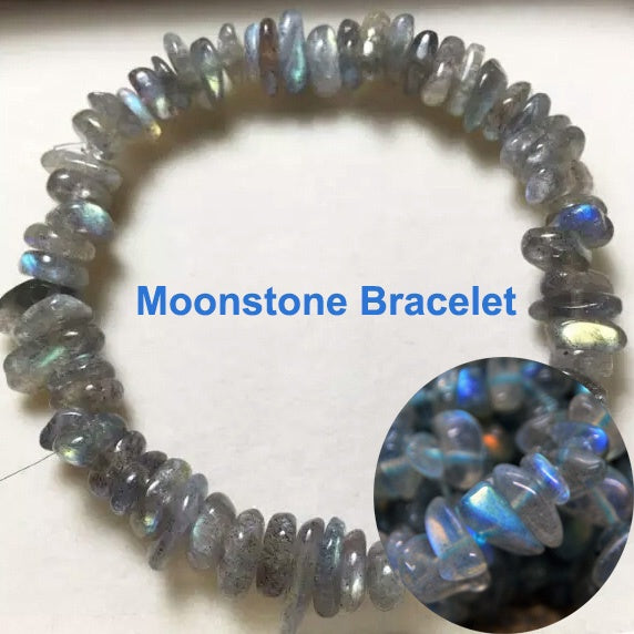 Pure Natural Grey Moonstone Crystal Bracelet Grey Labradorite