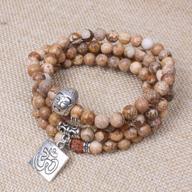 108 Mantra bead - Ancient silver Buddha