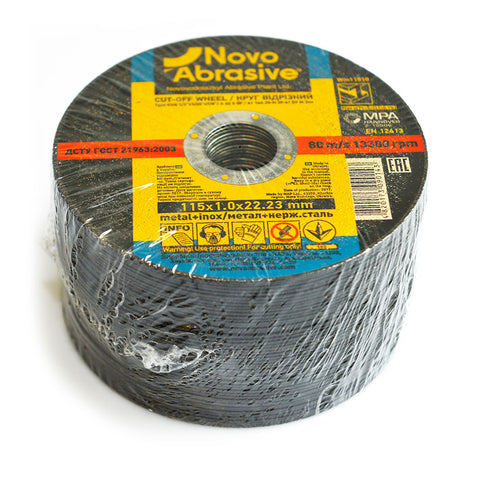NOVOABRASIVE Metal Cutting Disc 115 x 1 x 22.23 mm - Novotools