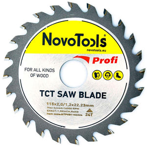 NOVOTOOLS Circular Saw Blade 115 x 22 mm x 24 Teeth - Novotools