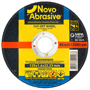 NOVOABRASIVE Metal Cutting Disc 125 x 1.6 x 22.23 mm - Novotools