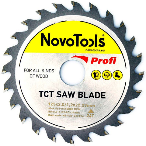 NOVOTOOLS Circular Saw Blade 125 x 22 mm x 24 Teeth - Novotools
