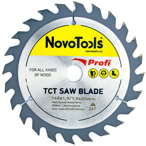 NOVOTOOLS Circular Saw Blade 165 x 20 mm x 24 Teeth - Novotools