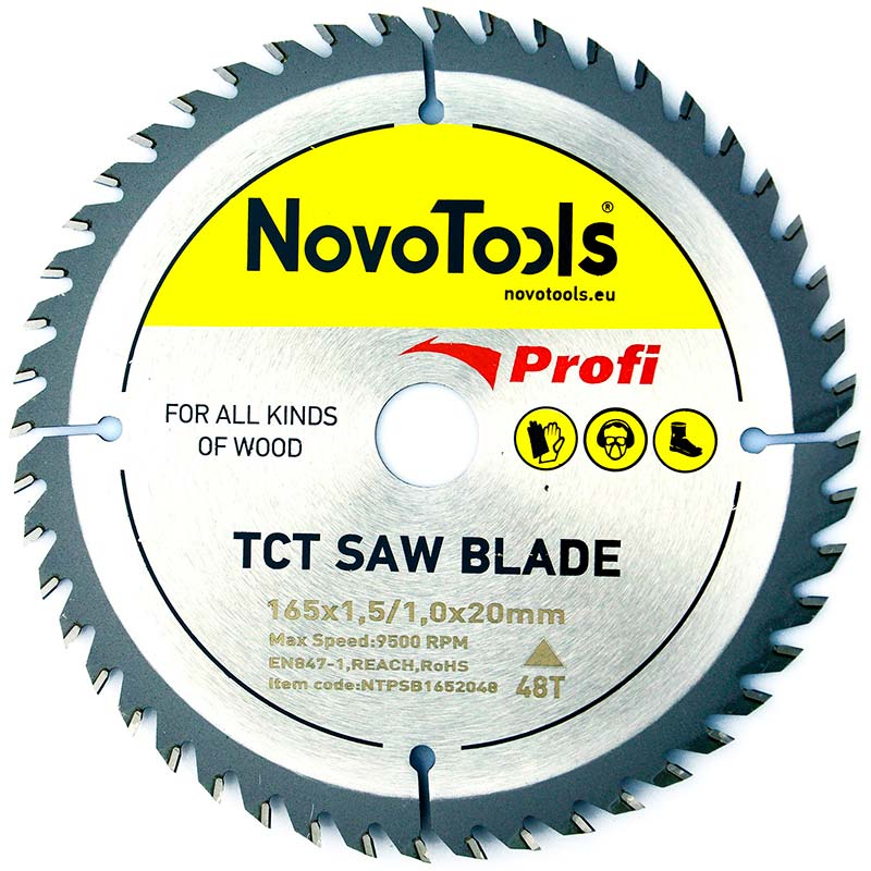 NOVOTOOLS Circular Saw Blade 165 x 20 mm x 48 Teeth - Novotools