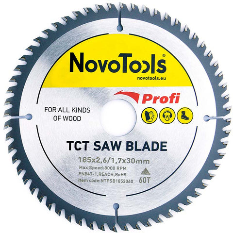 NOVOTOOLS Circular Saw Blade 185 x 30 mm x 60 Teeth - Novotools
