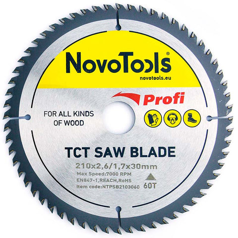 NOVOTOOLS Circular Saw Blade 210 x 30 mm x 60 Teeth - Novotools