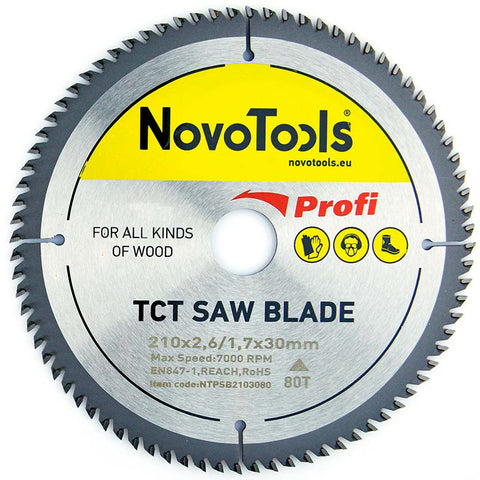 NOVOTOOLS Circular Saw Blade 210 x 30 mm x 80 Teeth - Novotools