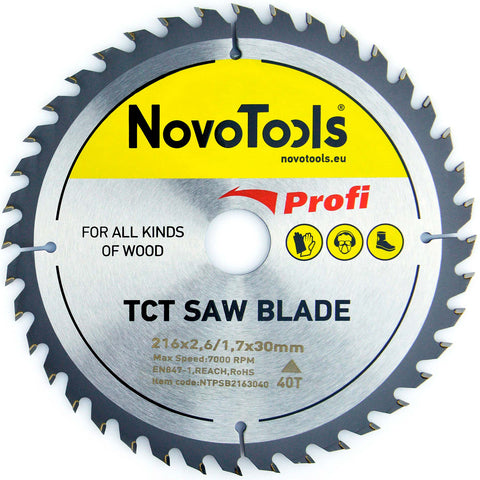 NOVOTOOLS Circular Saw Blade 216 x 30 mm x 40 Teeth - Novotools