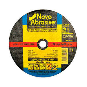 NOVOABRASIVE Metal Cutting Disc 230 x 1.9 x 22.23 mm - Novotools