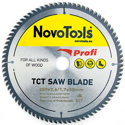 NOVOTOOLS Circular Saw Blade 250 x 30 mm x 80 Teeth - Novotools