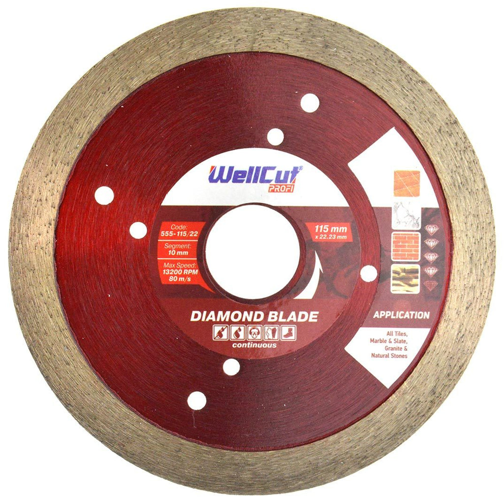 WELLCUT Diamond Continuous (Tile) Blade 115 mm x 22.2 mm. Industrial Quality - Novotools