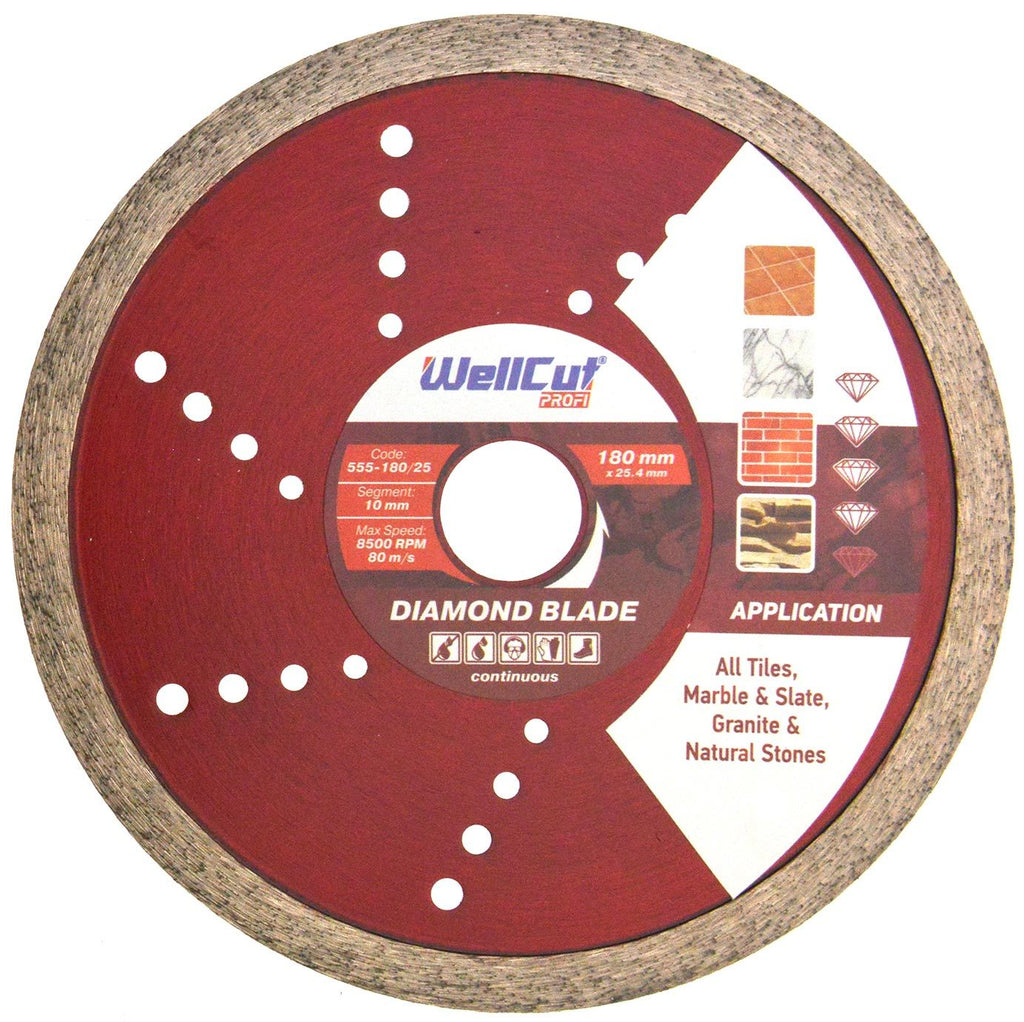 WELLCUT Diamond Continuous (Tile) Blade 180 mm x 25.4 mm. Industrial Quality - Novotools